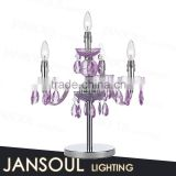 hot selling modern classic purple colored glass crystal drop chandelier table lamp light fixtures