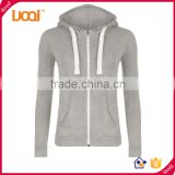 2016 guangzhou LuoQi wholesale 100%cotton custom plain dyed pullover hoodies women sports blank hoodies with zip