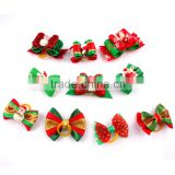 Various Design Holiday Christmas Ribbon Dog Cat Hair Bows With Rubber Band
