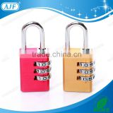 AJF 2015 New Arrival High security 3 Dials square shape aluminium material combination padlock