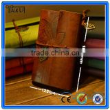 Fashionable Pu Leather leaf design notebook/diary school loose leaf leather notebook/business gift soft leather notebook