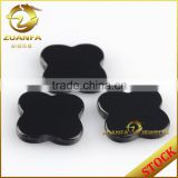 wholesale machine cut 12*12mm polished four leaf clover black agate slices                                                                         Quality Choice