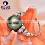 Tahitian black pearl elegant female good pearl ring designs