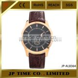 Rose Gold Japanese Movement stainless steel back water resistant With Stainless Steel Back Blue Red Leather Band watch