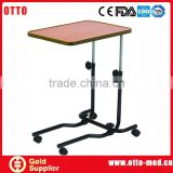 Medical height adjustable overbed table