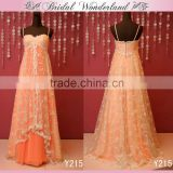 Layered net lace peach color bridesmaid dress
