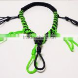 outdoor hunting survival polyester paracord duck call lanyard black and neon green