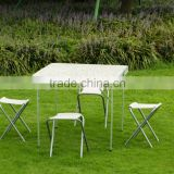 CHEAP PORTABLE FOLDING CAMPING PICNIC BEER TABLE AND 4 IRON CHAIRS SET