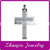 Fashion Christianity Catholic Jewelry Shiny Polishing 316L Stainless Steel Religious Jesus Cross CZ Pendant For Rosary Necklace