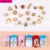 2016 Newest Design Fashion Gold Plating Rhinestone Crystal pearl Hollow Nail Rings For Chic Girls