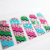 Custom colorful foil 2d nail art design with beads rhinestone nail sticker metallic 14 day nail decal manufacturer