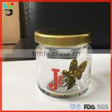 glass material small jar with lid mini honey jar