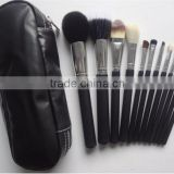 Wholesale Facial Brushes Private Label Natural Hair Makeup Brush Set 12 Pieces with Cosmetic Bag