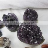 crystal grape clusters amethyst geode hedgehog model