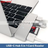 Premium 5 in 1 USB 3.0 Sharing USB C Combo Hub For New MacBook 12 Inch Chrome Book Pixel 2 Card Reader USB Hub