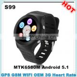 S99 watch phone android wifi 3g MTK6580M smart watches ios and android with camera and sim