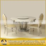 marble round dining table for 6 people with lazy susan hotel furniture