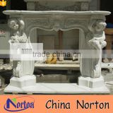 Carved baby statue artificial white marble fireplace mantel NTMF-F830A