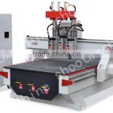 CNC Router Three-head Machine SH1325TS with Travelling area 1260x2500mm and Working area 1240x2480mm and Table size 1300x2500mm