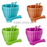 Custom plastic Ice Cream Cups,Spoon Set Bowls Tubs Party BBQ plastic bowl,Novelty Pool Party plastic bowl