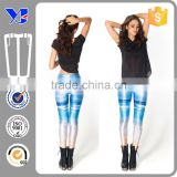 3d Beautiful OEM White Mix Light Blue Painting Tempera Color Lady Skinny Leggings