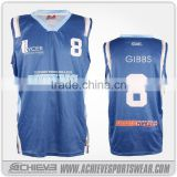 sublimation color custom basketball jersey blue and yellow