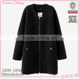 2015 new fashion office lady polyester wool golden zipper at front long straight women winter coats long down