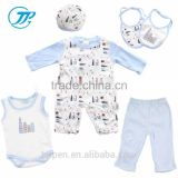 Blue Color Long Sleeve/Sleeveless Romper +Pant 13Pcs 100% Cotton Newborn Baby Clothing Set For Boys