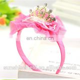 Baby Accessories Tuller Flower Matching Crown Rhinestone Baby Girl Jewelry Headwear