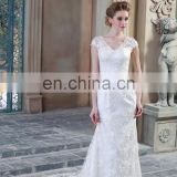 Elegant Appliqued Cap Sleeve See Through Back Beaded Sash Sheath Tulle Wedding Dress 2017