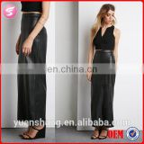 2015 New Design Fashion Women Leather Long Maxi Skirt