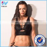 Trade Assurance Yihao 2015 Ladies Custom Sexy Sports Gym Black Sports Bra Singlet Crop Tank Top Tops