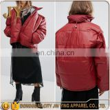 Street Style Women Wine Red Zip Fastening Press-stud Placket Oversized Drop Shoulder Padded Cotton Jackets