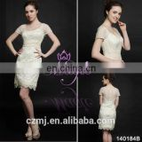 stock light beige short sleeve v neck short lace dress for online shopping