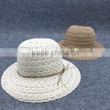 C67510A ladies lace bow straw hat sun hat for lady