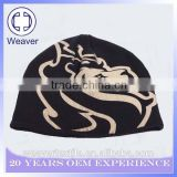 China Wholesale Black 100% Acrylic Teenagers Slouchy Bow Knitted Beanie Hat