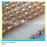 Plastic Crystal Chain Stick on Ss16 4mm AB Crystal Brown Banding 1x130 Pcs 10 Yards