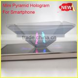 2016 new business Smartphone 3D holographic projector,Mini Pyramid Hologram for smartphone, 3D Hologram Display