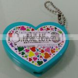 mini projection customized keychain, heart shaped led light keyring with ball chain