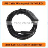 5M Cable Length 6LED USB Waterproof Endoscope Borescope Tube Snake Camera 7mm Lens Camera Inspection Camera Flexible