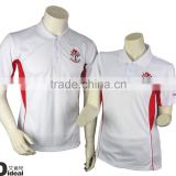 100% polyester dry fit polo shirt white and red polo shirt custom made embrioderypolo t-shirt