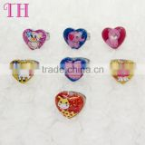stylish lovely animal glitter inside shape ring plastic toy little finger cat rings for children