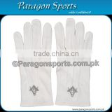 Masonic Regalia Gloves White Cotton Embroidery Logo With Square and Compass in Silver color