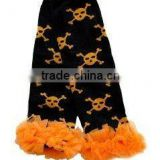 Wholesales halloween black with orange skull baby leg warmer with orange ruffle for infant and toddler