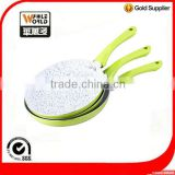 Green 26cm aliminum marble nonstick coated frying pan with induction bottom