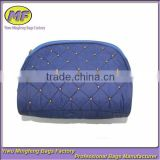 Cheap Dark Blue Polyester Quilted Pouch Style Small Cosmetic Bag with Zipper Distributor