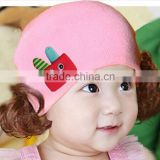 MZ3145 winter wool knitted Pink cute warm baby lovely hats with fake hair