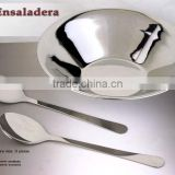 Stainless Steel Salad Bowl with Server Set / Ensaladera Inox. Con Pinzas Set