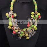 Women Summer Accessories China Bead Chunky Chain Bib Necklace Design