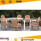 Hot sale design factory price PE rattan dining set contract garden furniture